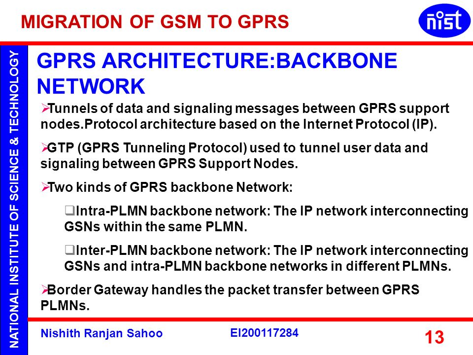 GPRS ARCHITECTURE:BACKBONE NETWORK