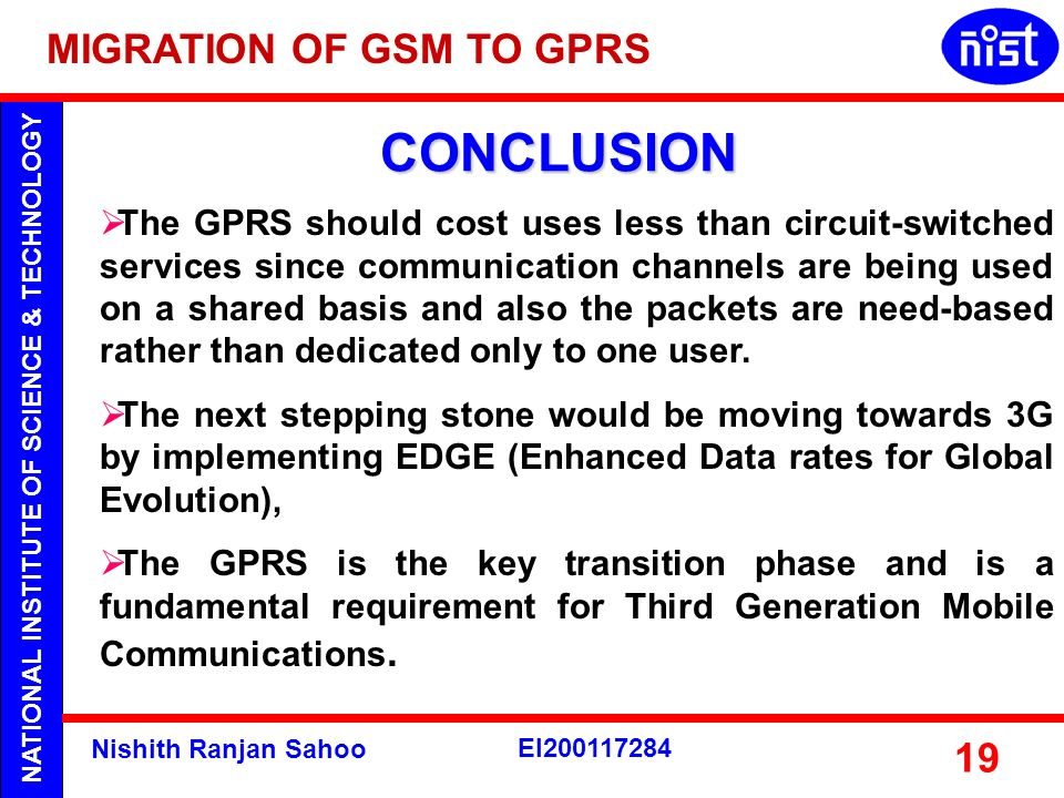 CONCLUSION MIGRATION OF GSM TO GPRS