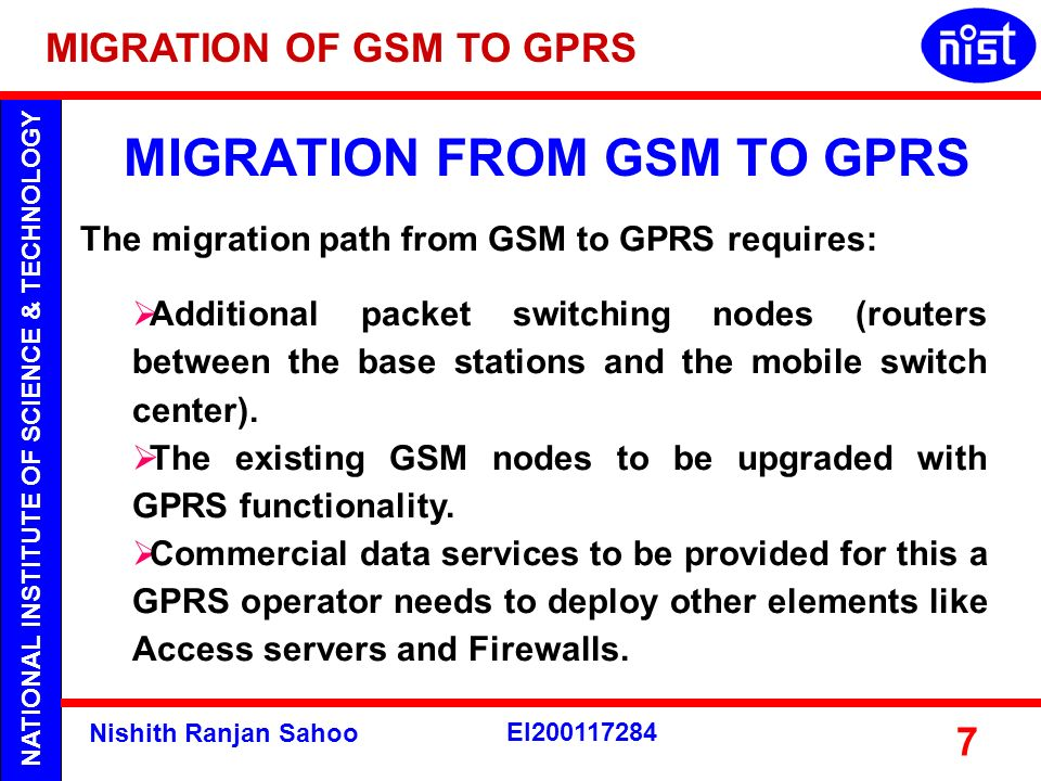MIGRATION FROM GSM TO GPRS
