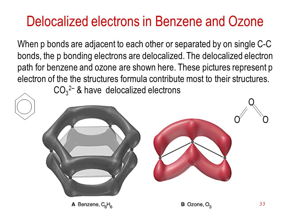 Delocalized electrons in Benzene and Ozone
