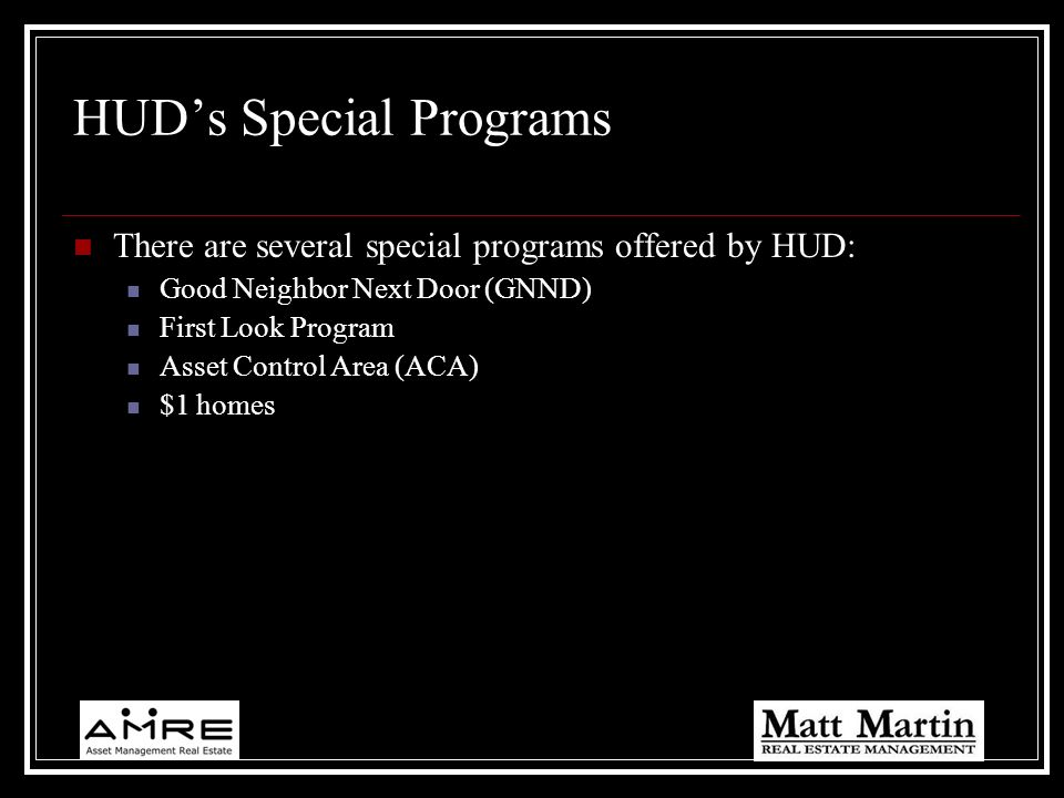 HUD's Special Programs