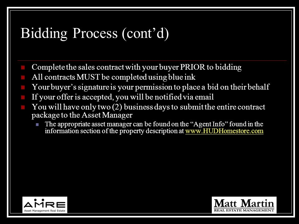 Bidding Process (cont'd)