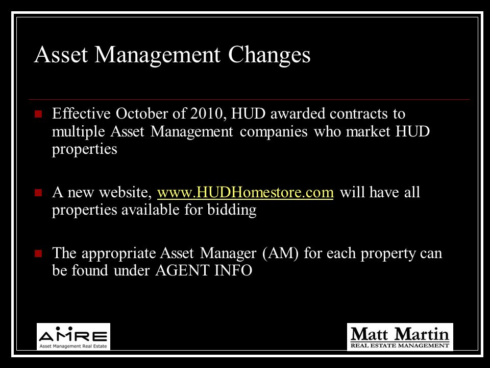 Asset Management Changes