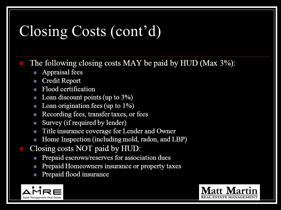 Closing Costs (cont'd)