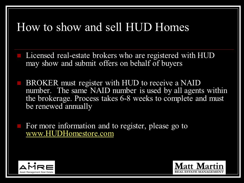 How to show and sell HUD Homes