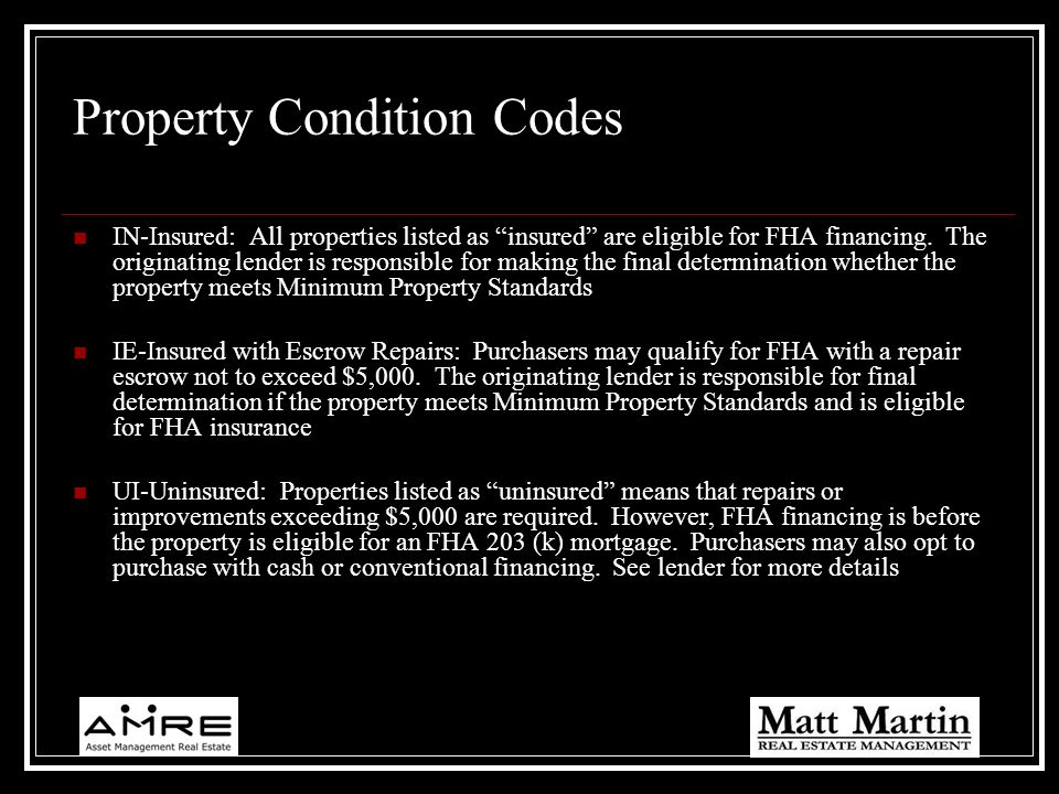 Property Condition Codes