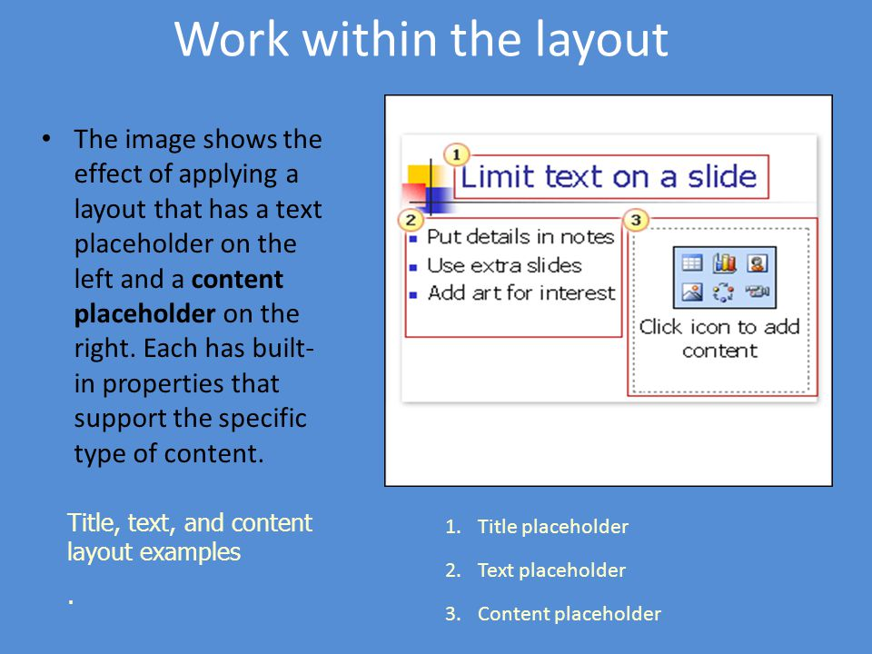 Work within the layout