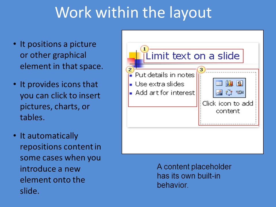 Work within the layout It positions a picture or other graphical element in that space.