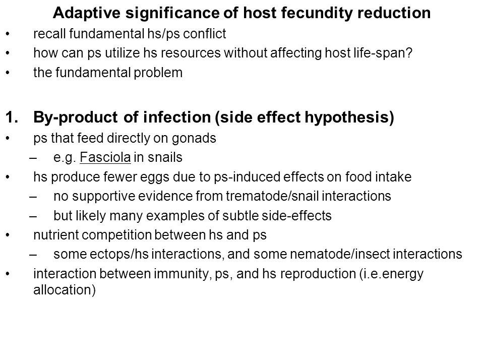 Adaptive significance of host fecundity reduction