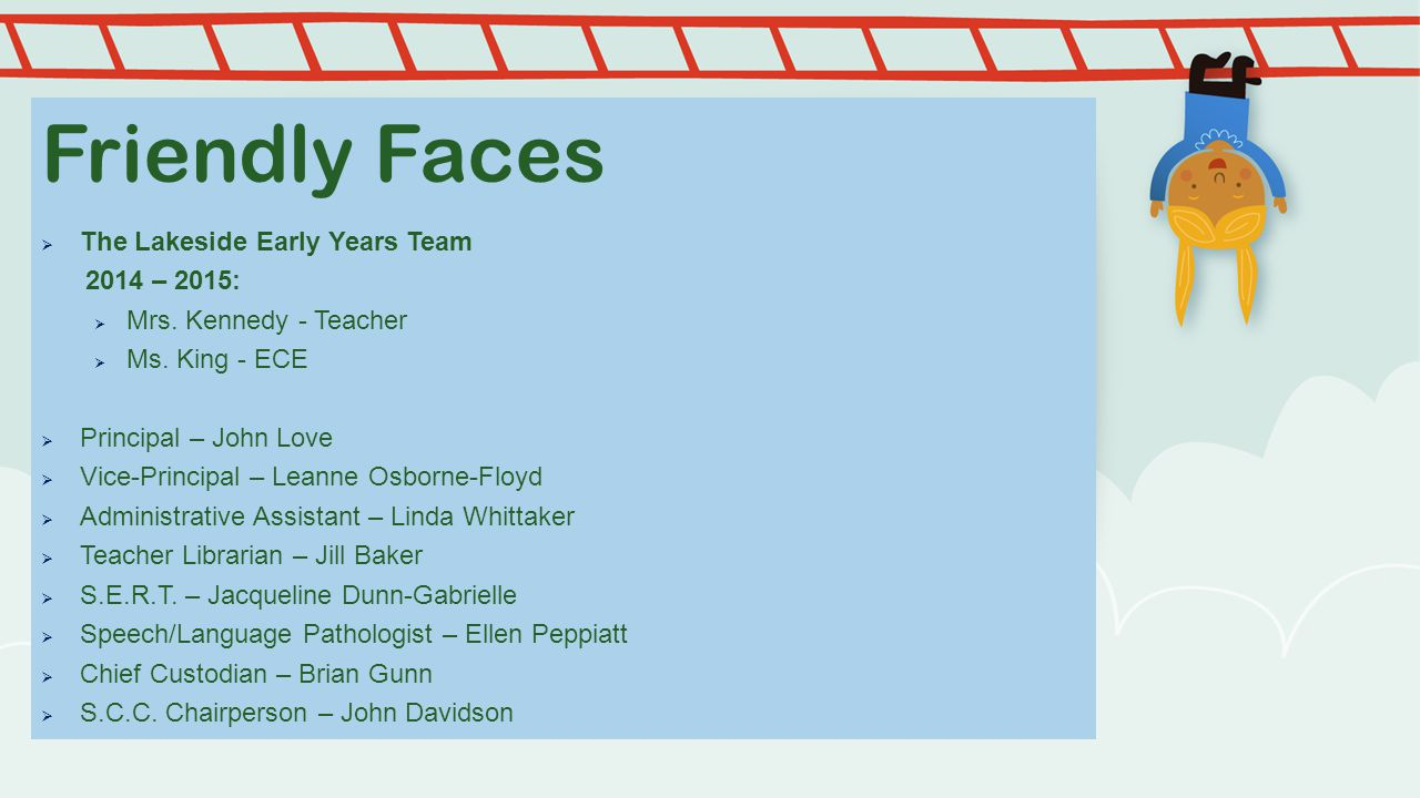 Friendly Faces The Lakeside Early Years Team 2014 – 2015: