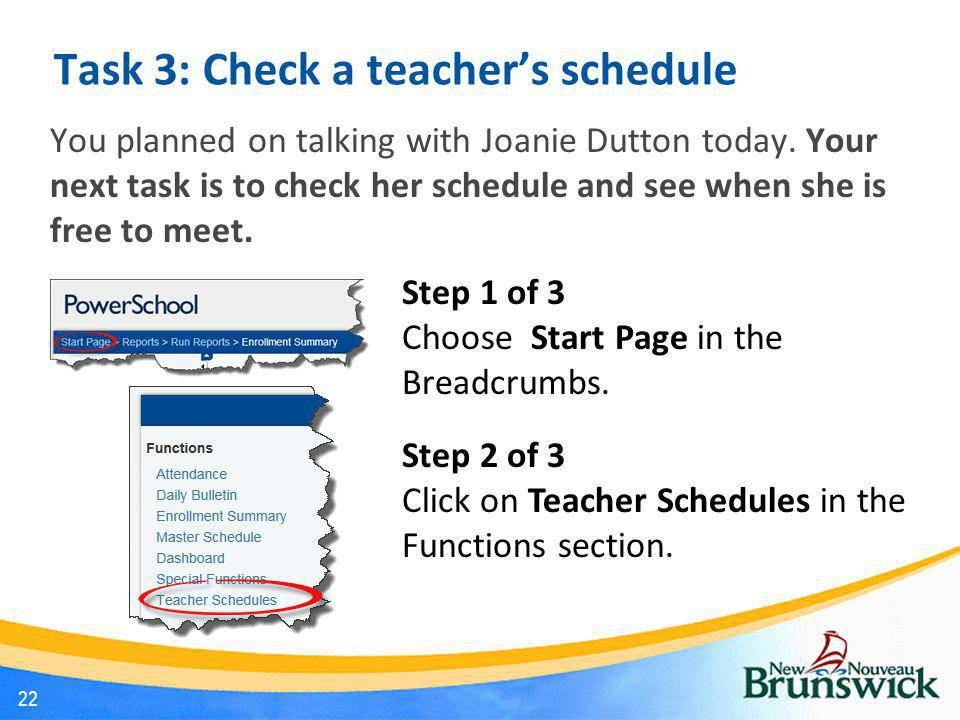 Task 3: Check a teacher's schedule
