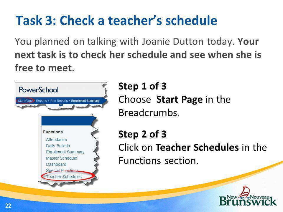 Task 3: Check a teacher's schedule