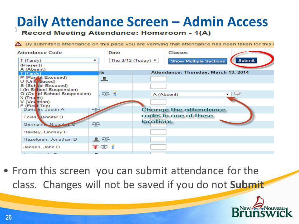 Daily Attendance Screen – Admin Access