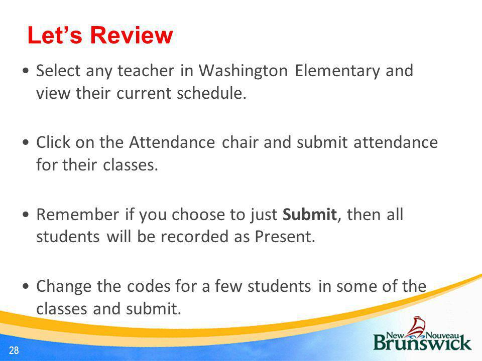 Let's Review Select any teacher in Washington Elementary and view their current schedule.