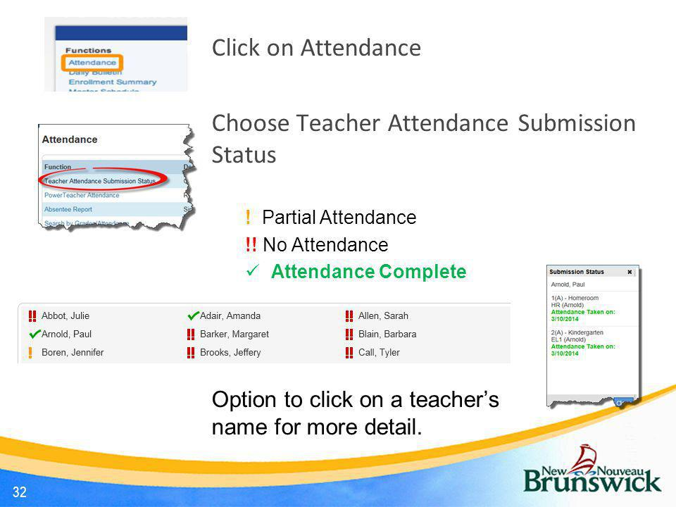 Choose Teacher Attendance Submission Status
