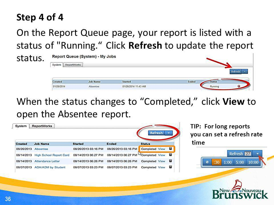 Step 4 of 4 On the Report Queue page, your report is listed with a status of Running. Click Refresh to update the report status.
