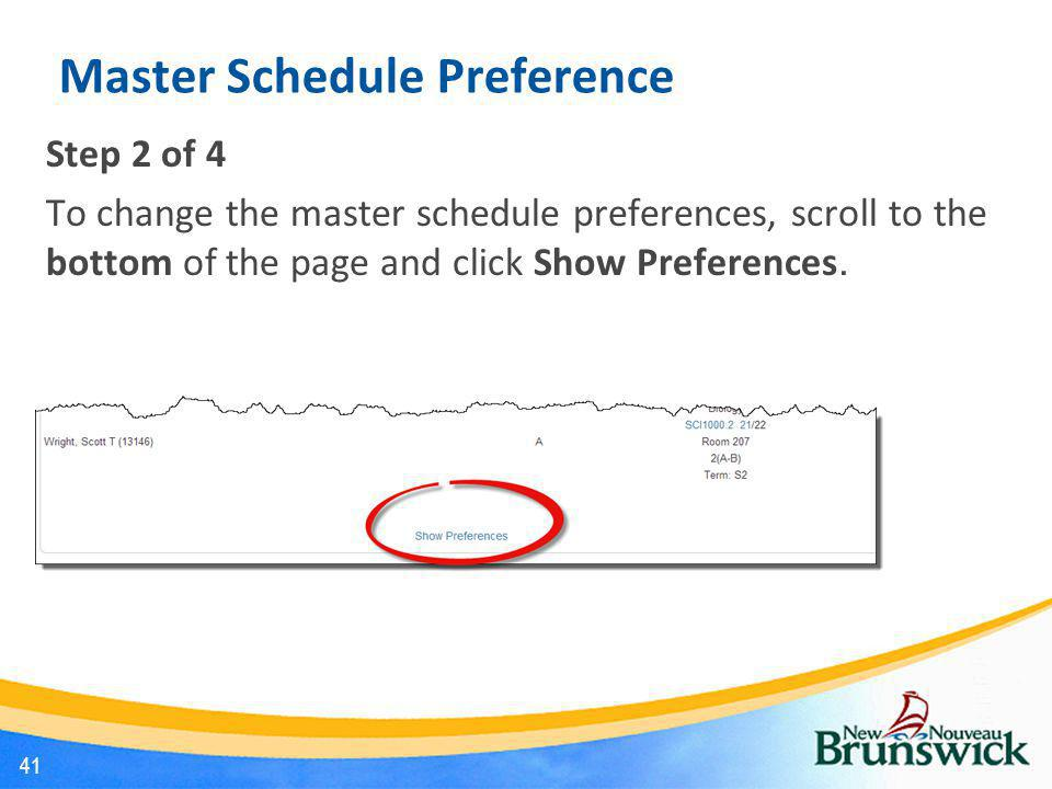 Master Schedule Preference
