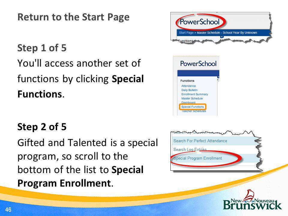 Return to the Start Page Step 1 of 5 You ll access another set of functions by clicking Special Functions.