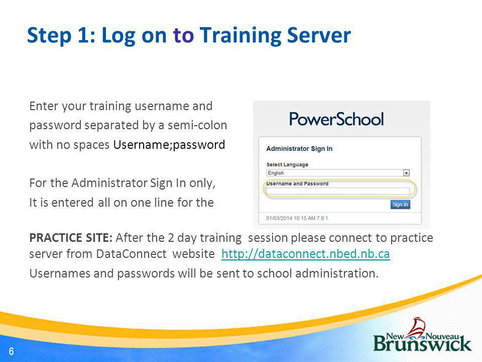Step 1: Log on to Training Server
