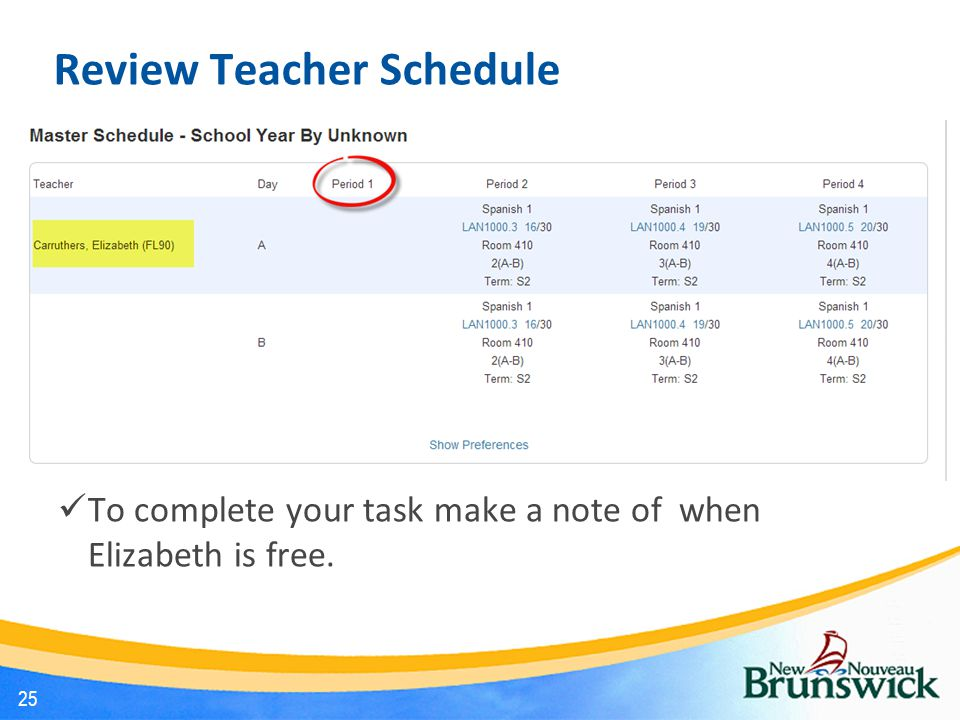 Review Teacher Schedule