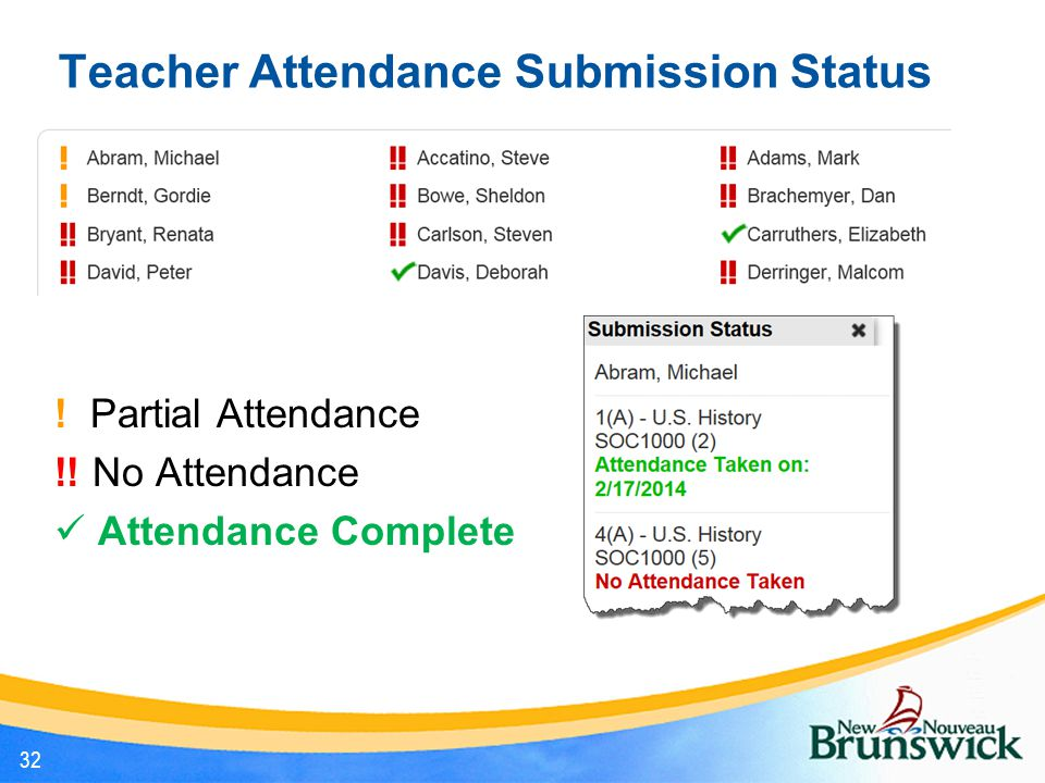 Teacher Attendance Submission Status