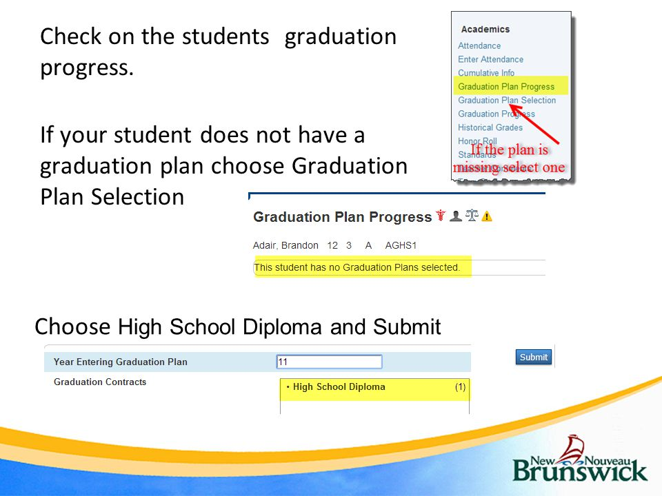 Check on the students graduation progress