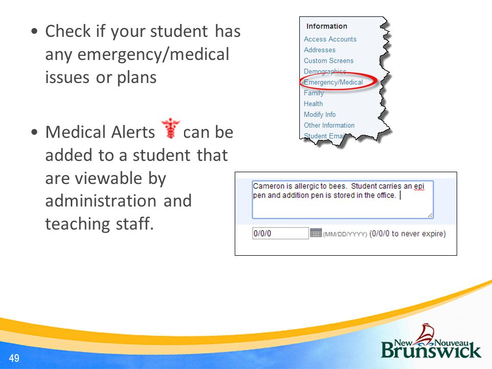 Check if your student has any emergency/medical issues or plans