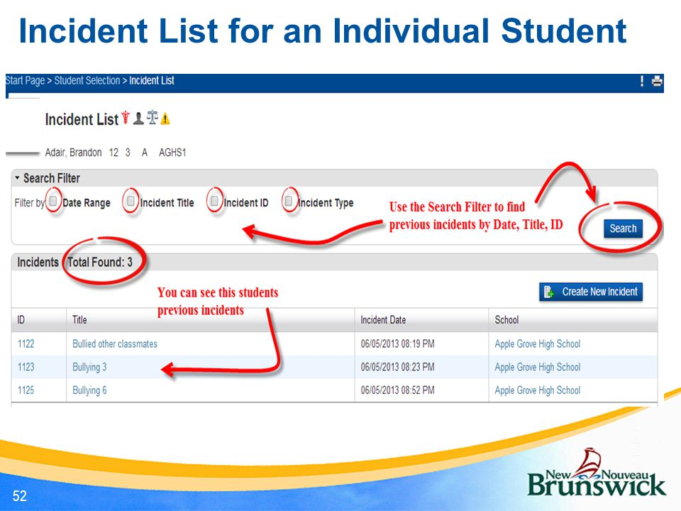 Incident List for an Individual Student