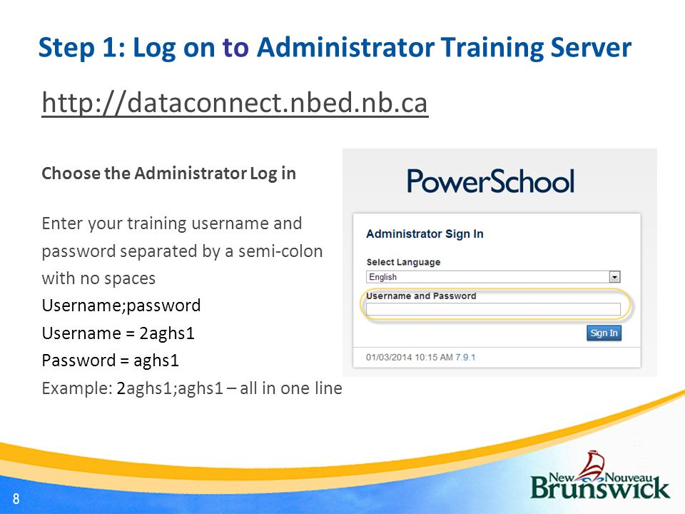 Step 1: Log on to Administrator Training Server