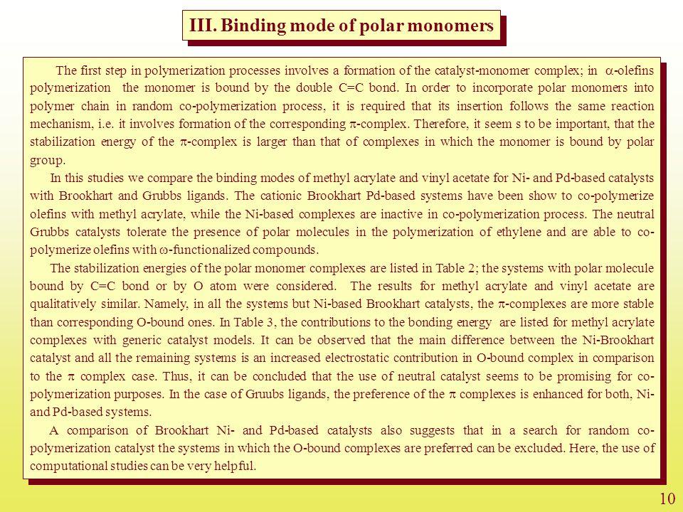 III. Binding mode of polar monomers
