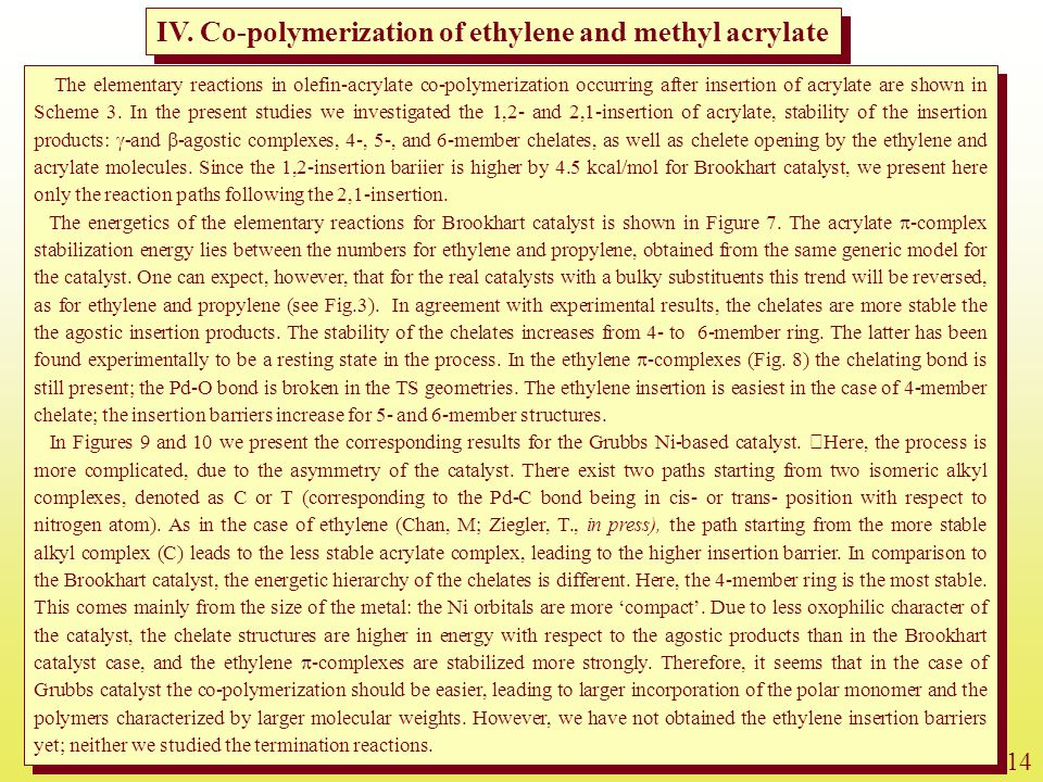 IV. Co-polymerization of ethylene and methyl acrylate