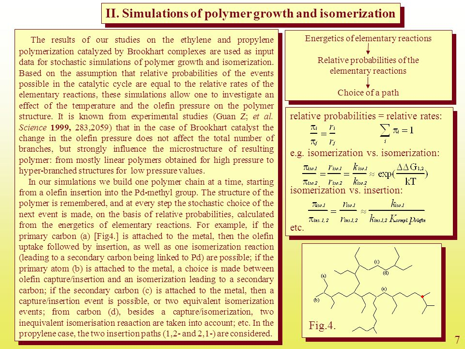 II. Simulations of polymer growth and isomerization