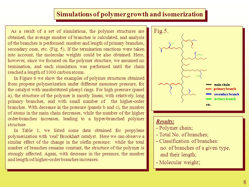 Simulations of polymer growth and isomerization