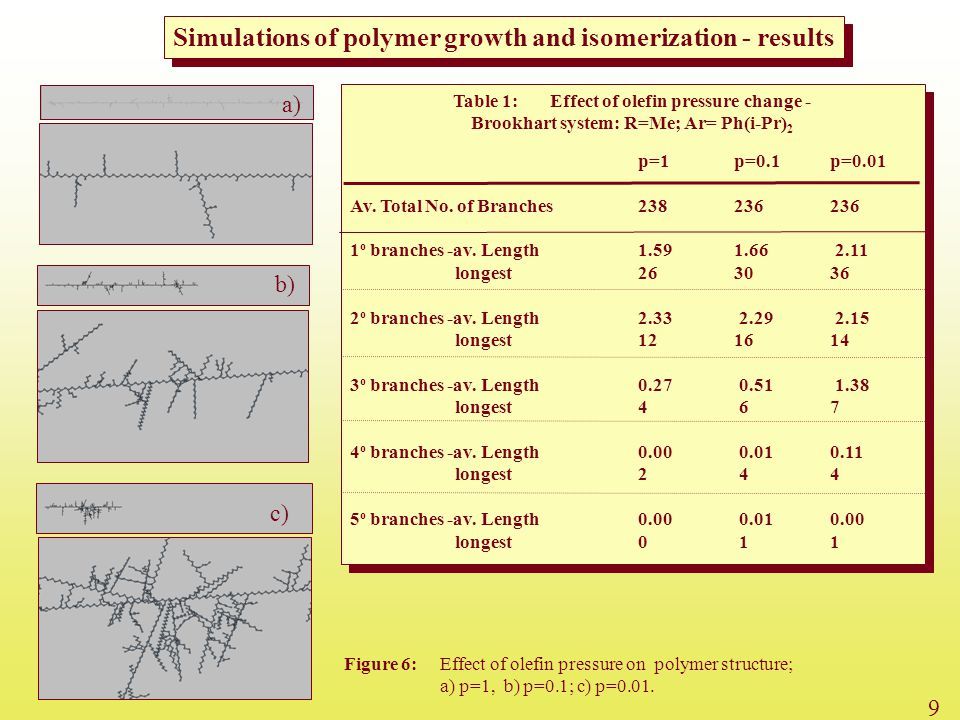 Simulations of polymer growth and isomerization - results