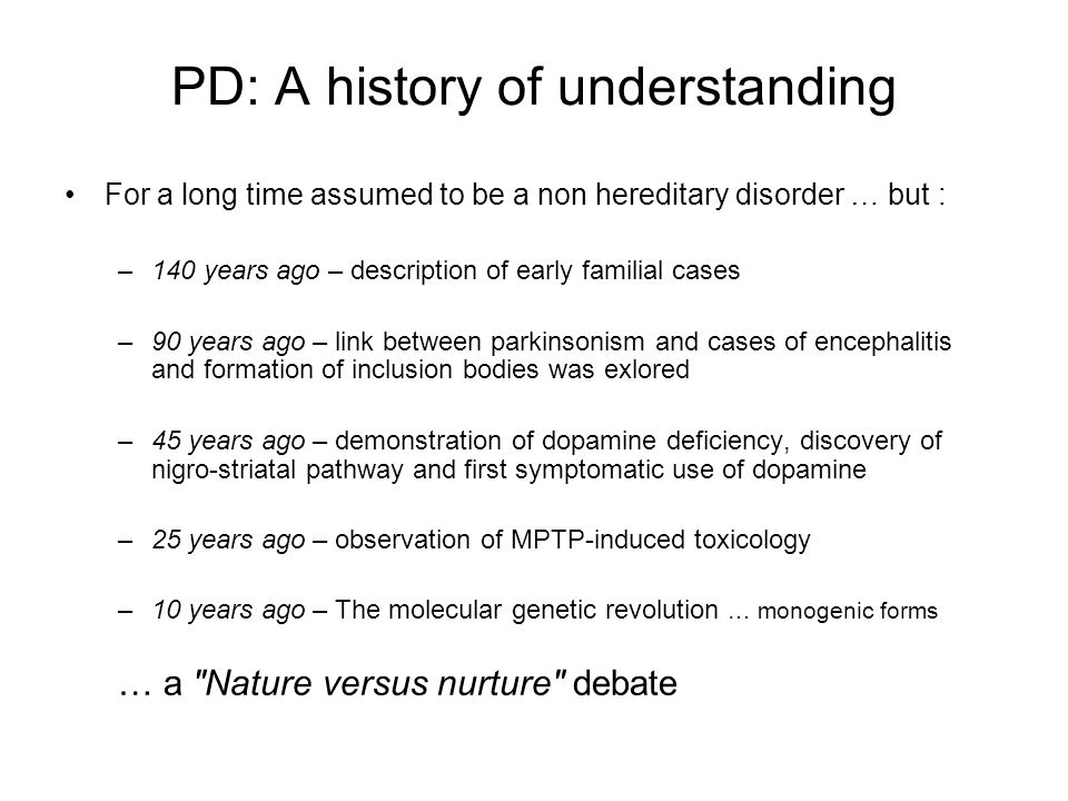PD: A history of understanding