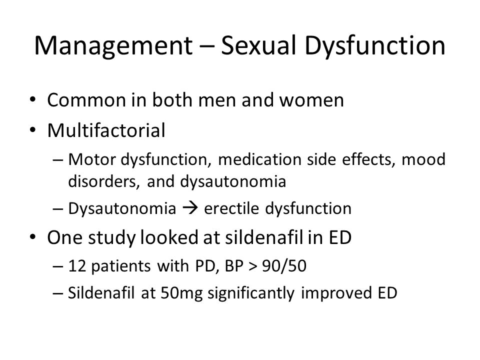 Management – Sexual Dysfunction