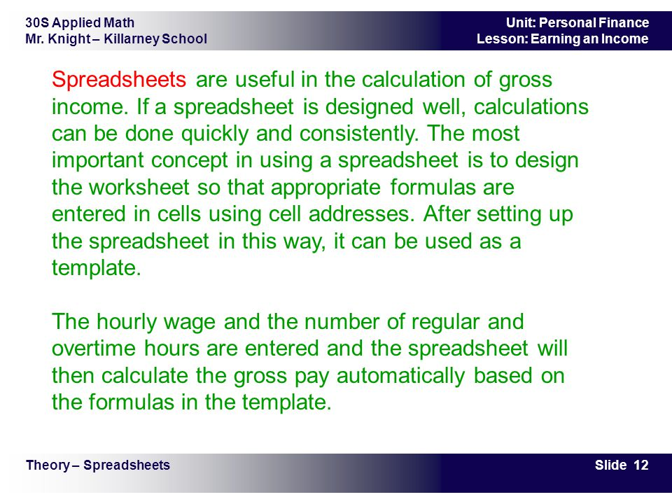 Spreadsheets are useful in the calculation of gross income
