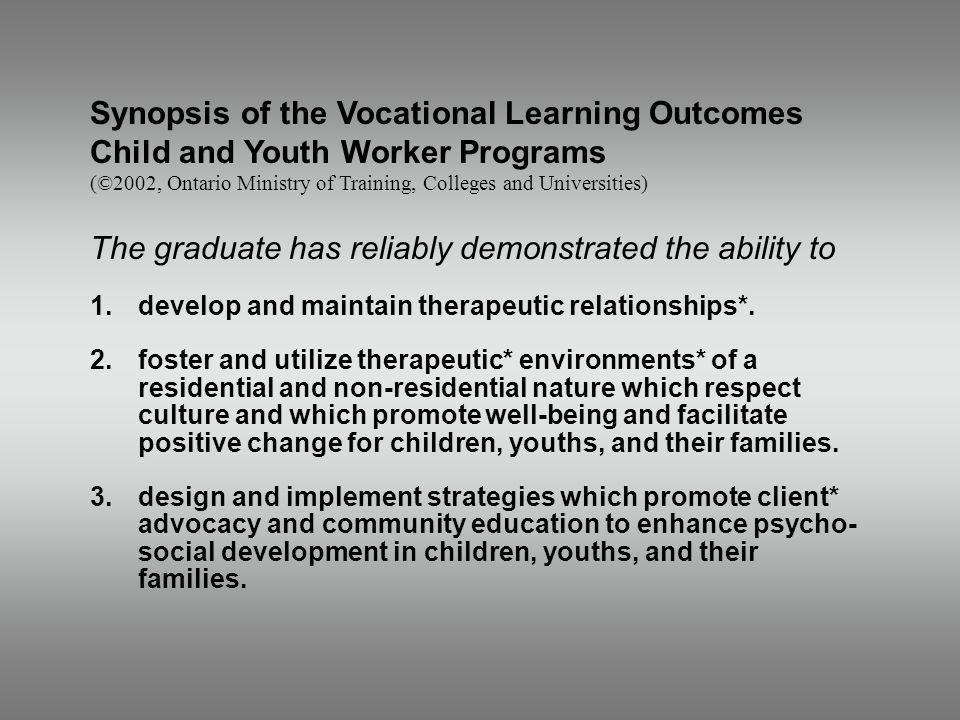 Synopsis of the Vocational Learning Outcomes