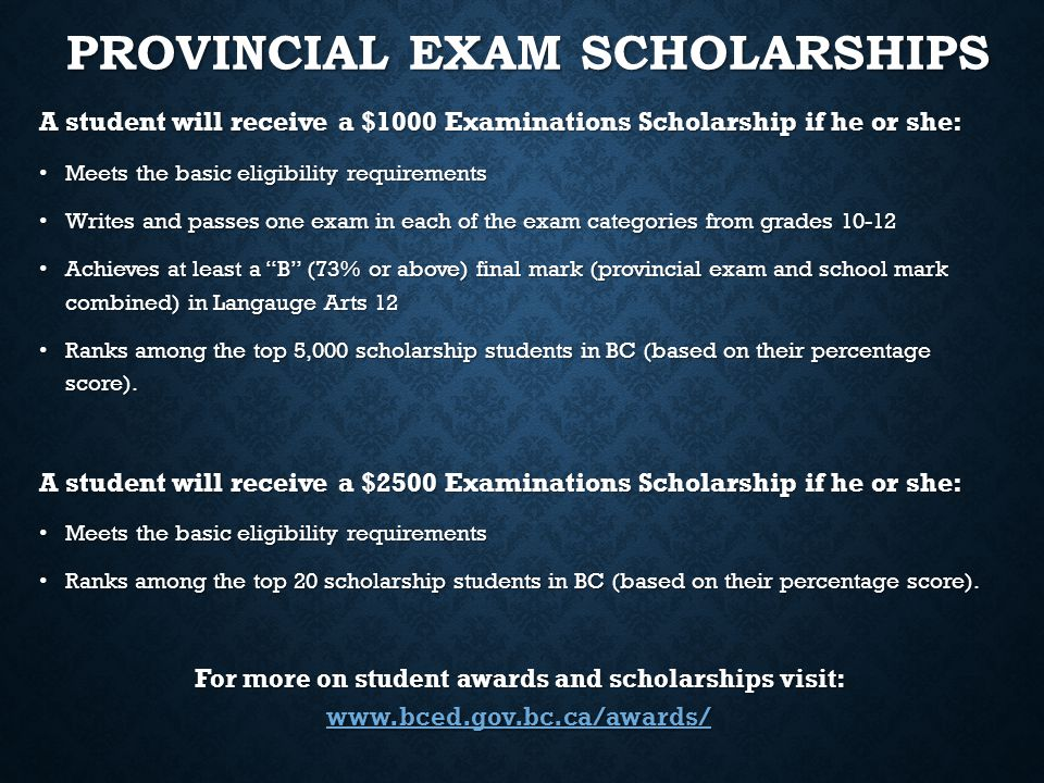 Provincial Exam Scholarships
