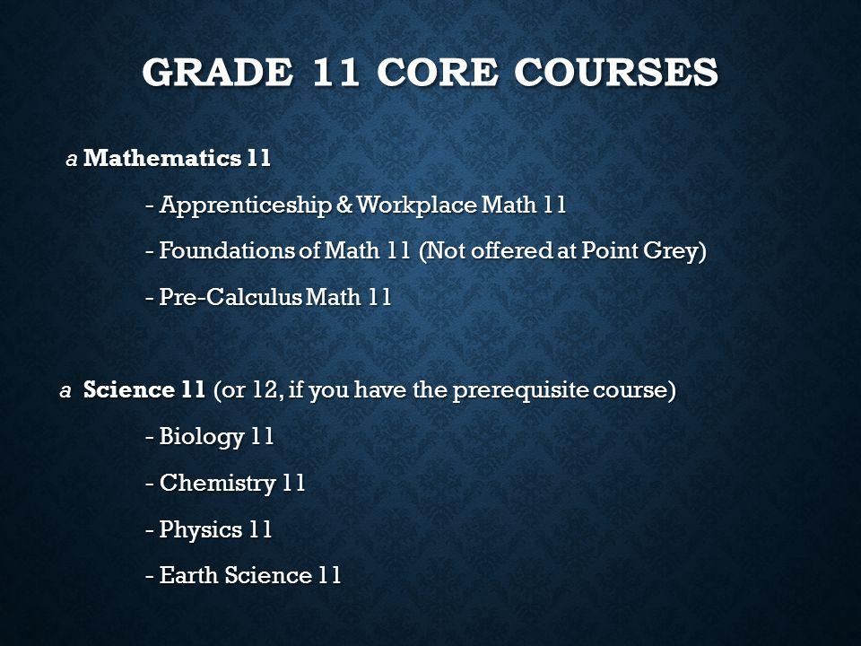 Grade 11 core courses a Mathematics 11