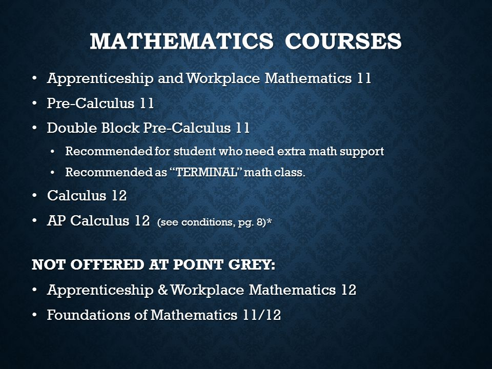 Mathematics Courses Apprenticeship and Workplace Mathematics 11
