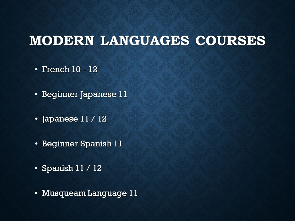 Modern Languages Courses