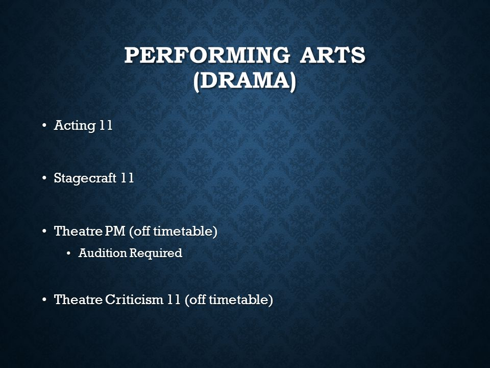 Performing arts (Drama)