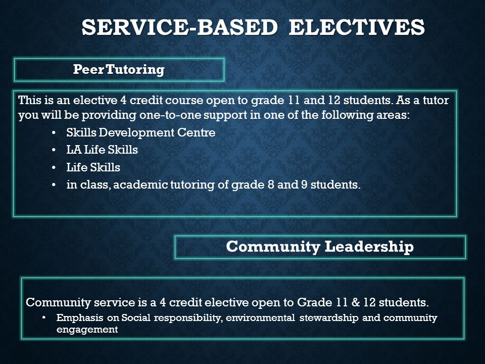 Service-based electives