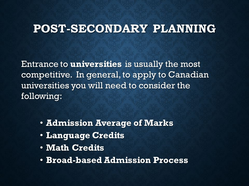 Post-Secondary Planning