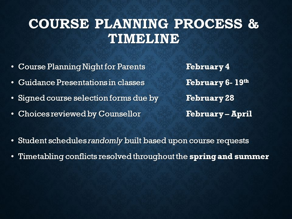 Course Planning Process & Timeline