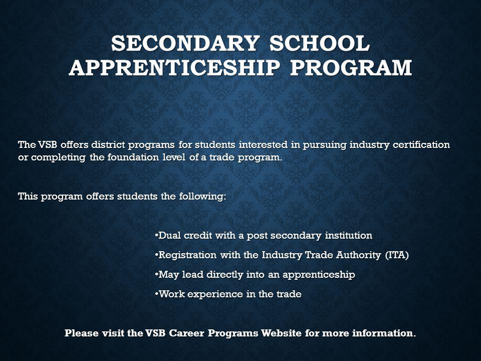 Secondary School Apprenticeship Program