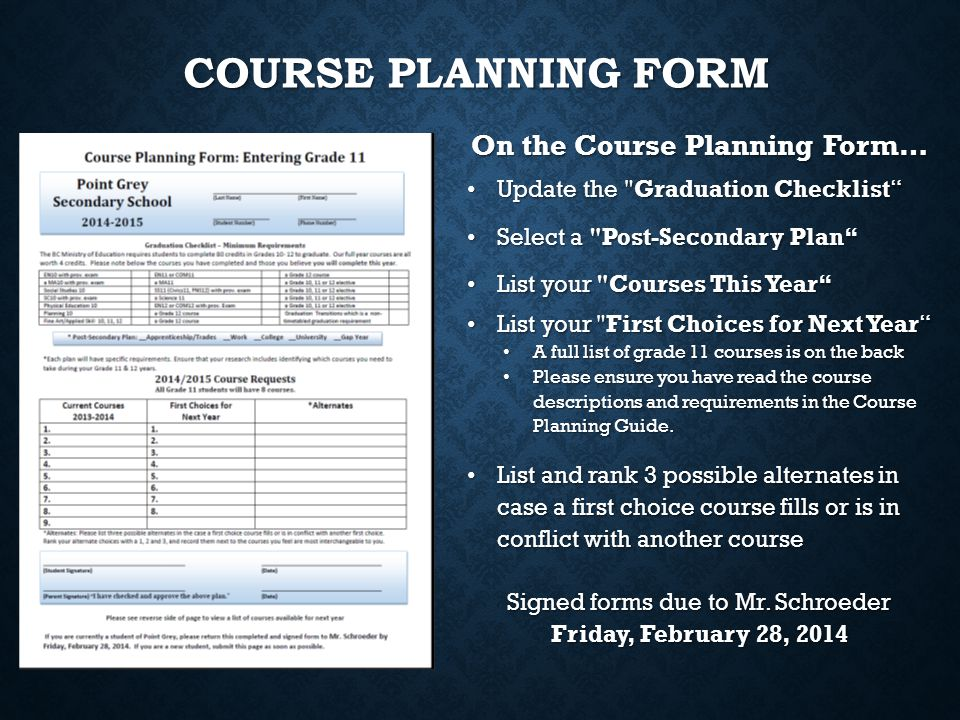 On the Course Planning Form…