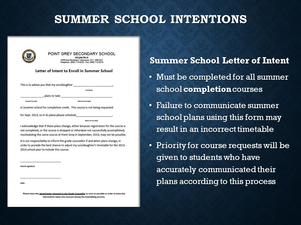 Summer School Intentions