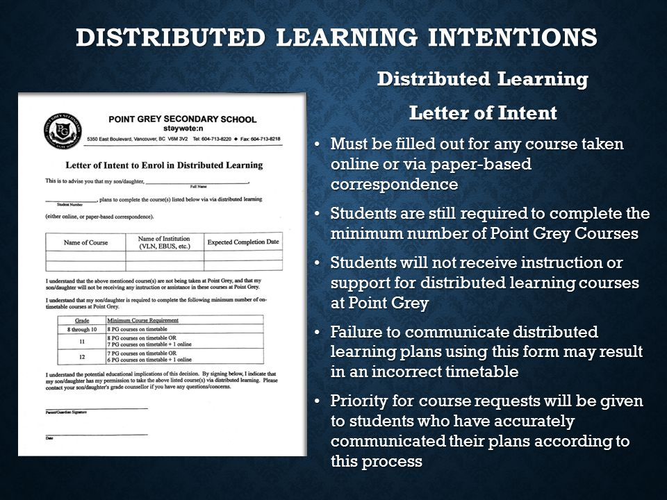 Distributed Learning Intentions